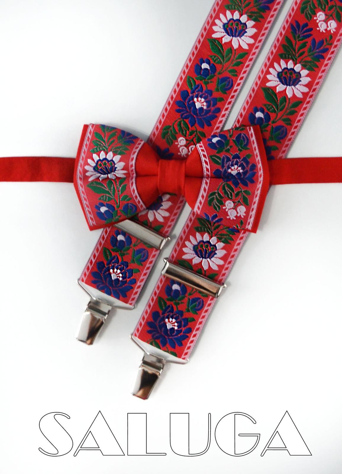 Folklórny červený motýlik a traky - folkový  - Obrázok č. 1