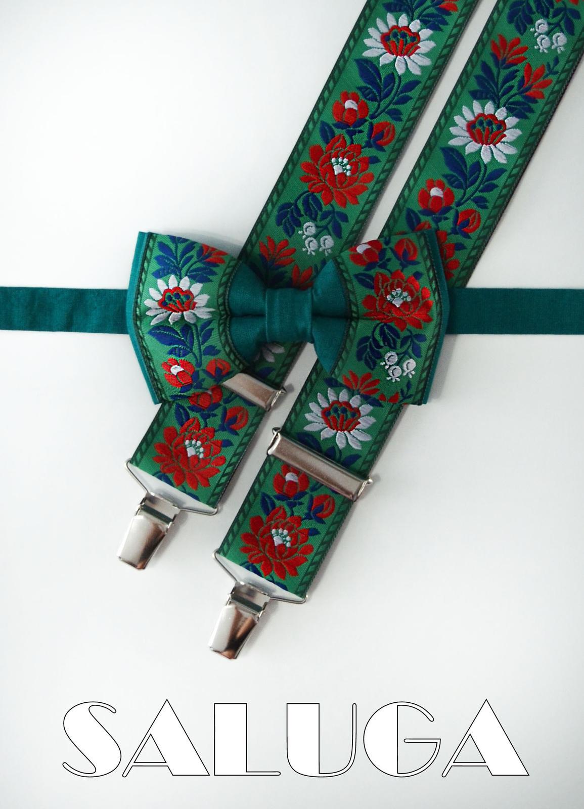 Folklórny motýlik a traky - zelený - ľudový - Obrázok č. 1
