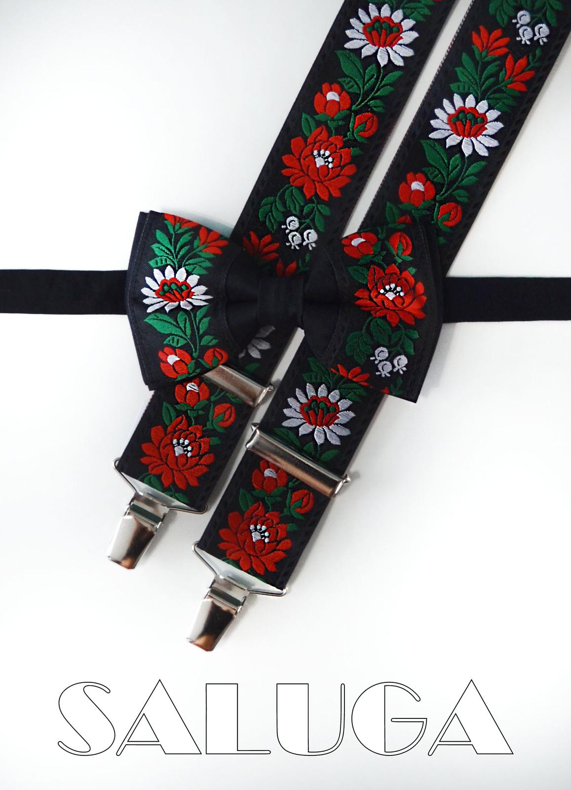 Folklórny pánsky čierny motýlik a traky folk - Obrázok č. 1