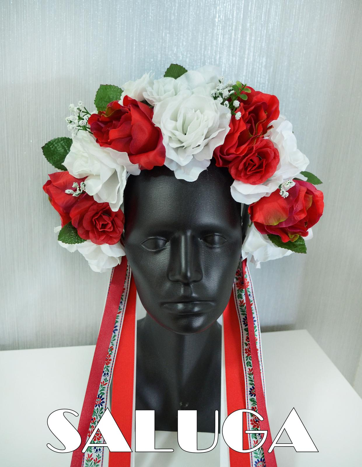 Folklórna parta - kvetinová - červená - biela - Obrázok č. 1