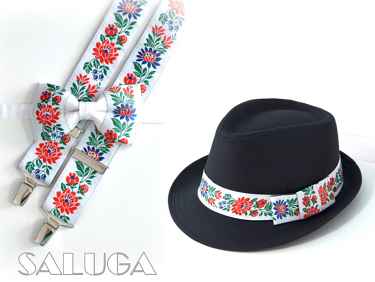 Set - folklórny pánsky klobúk - motýlik a traky  - Obrázok č. 1