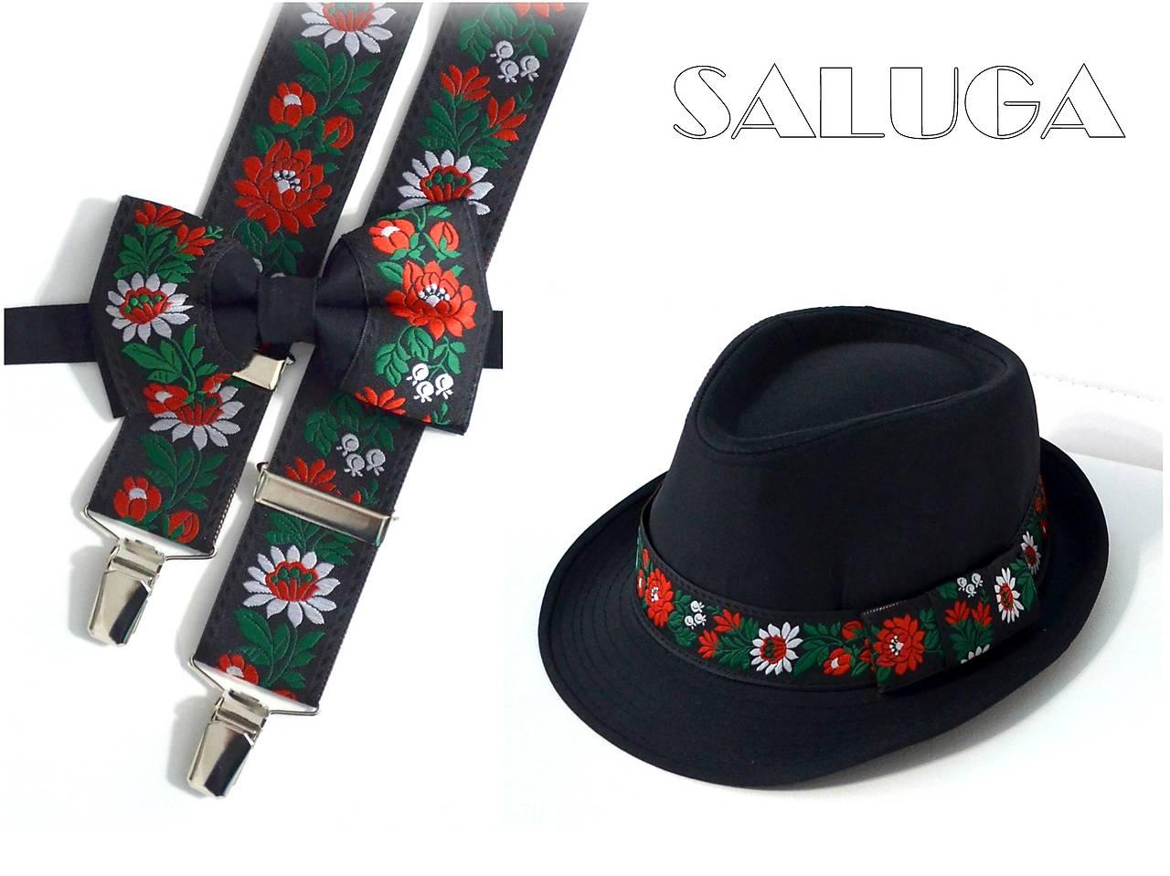 Set - pánsky klobúk, folklórny motýlik a traky - Obrázok č. 1