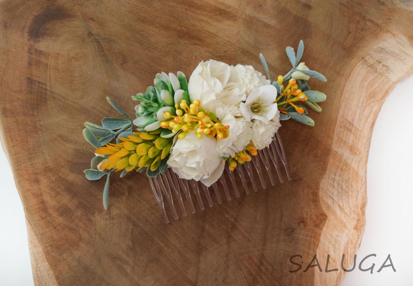 Kvetinový hrebienok do vlasov - žltý - oranžový - Obrázok č. 1