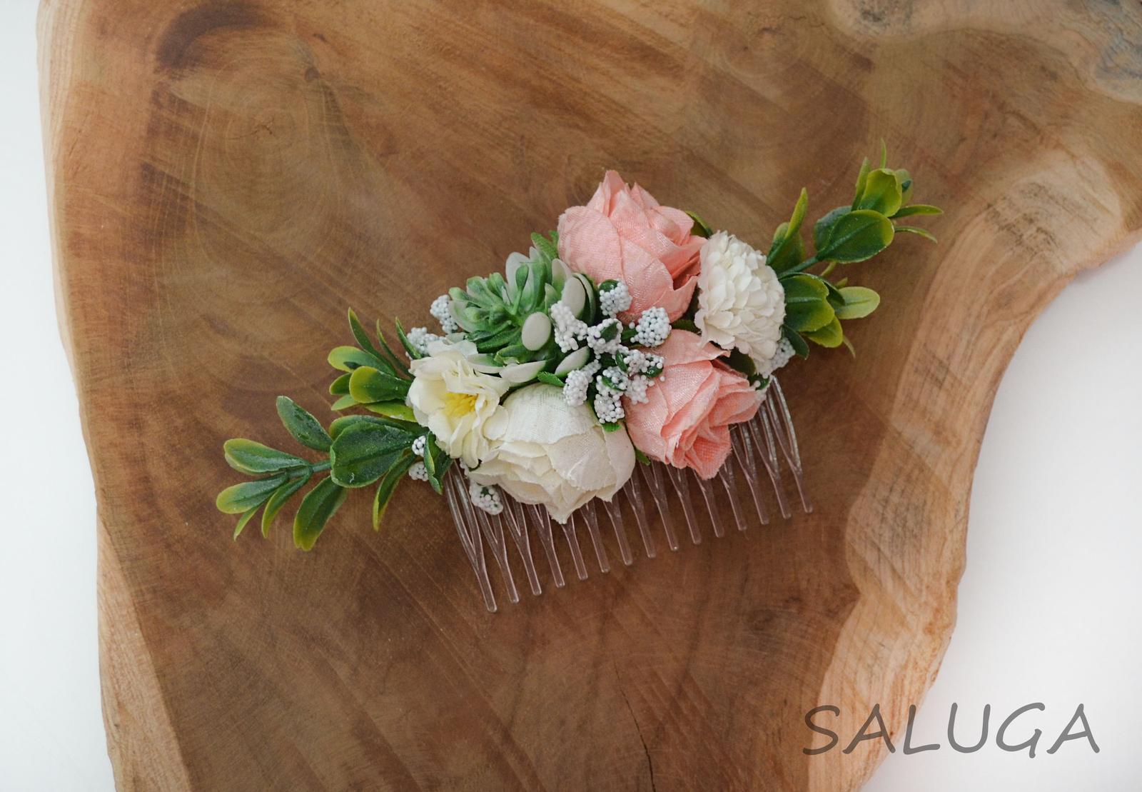 Kvetinový hrebienok do vlasov - marhuľový - Obrázok č. 1