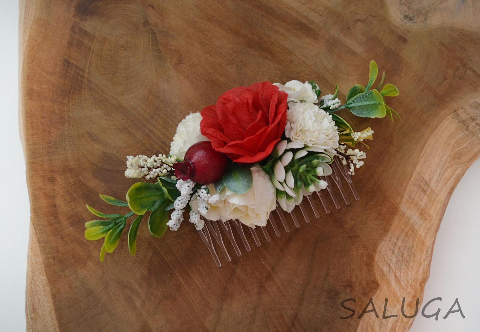 Kvetinový hrebienok do vlasov - červený - Obrázok č. 1