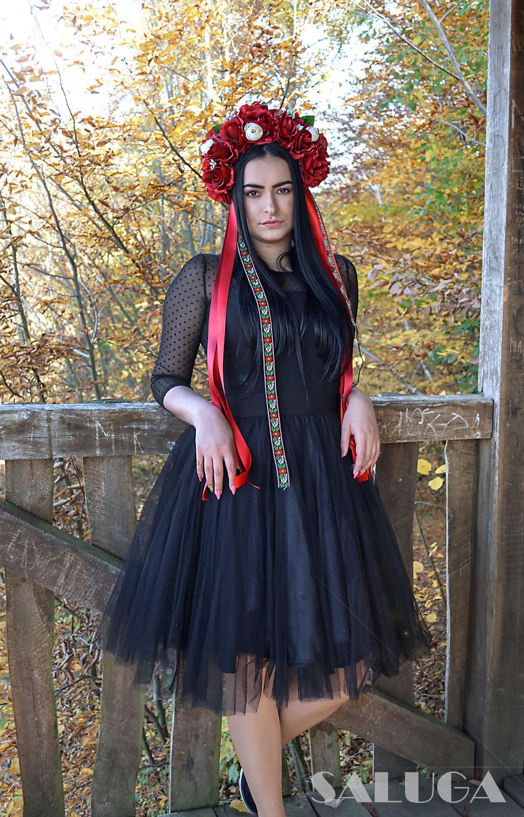 Kvetinová parta - čelenka - folklórna - červená - Obrázok č. 1