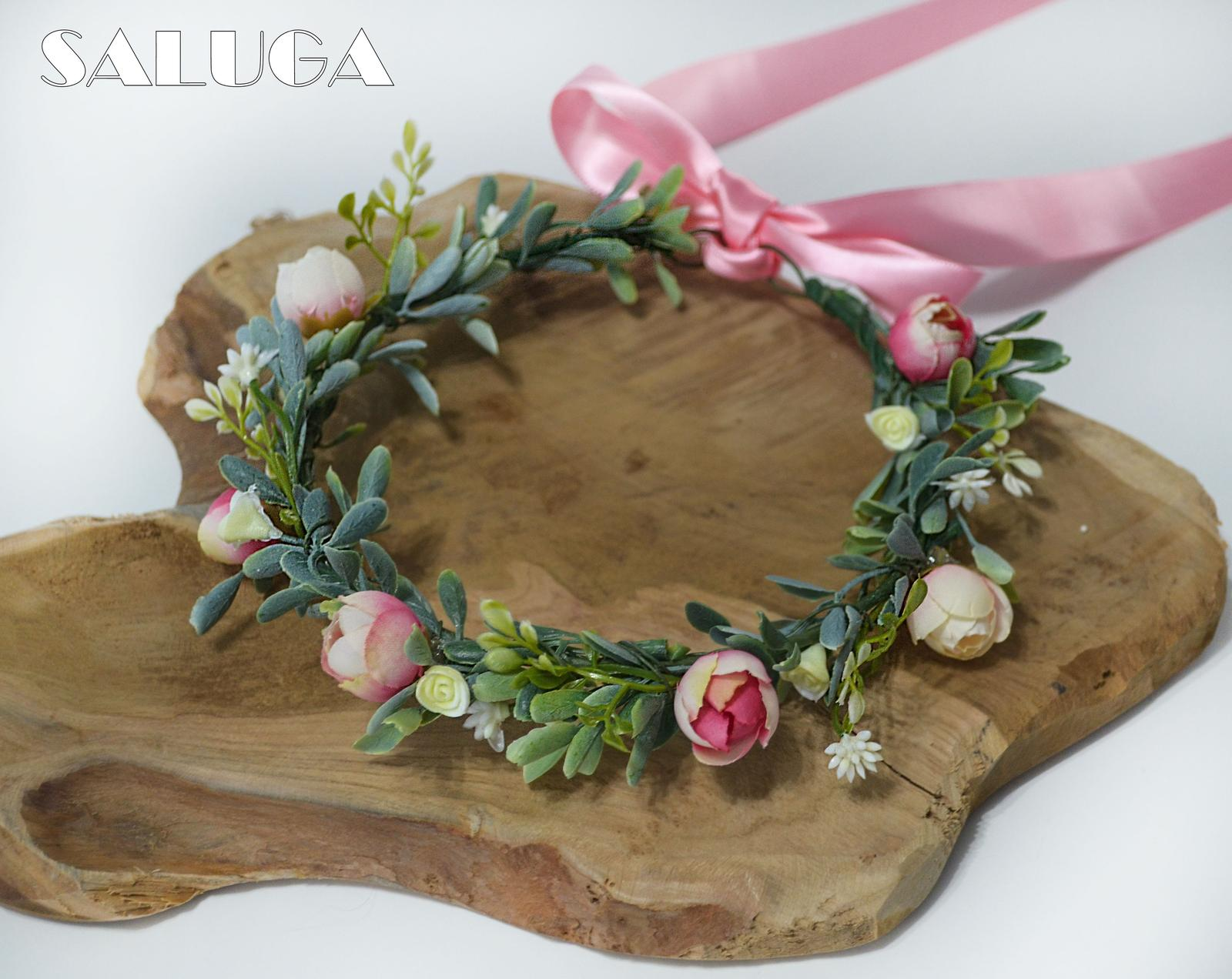 Kvetinový venček - ružový - Obrázok č. 1