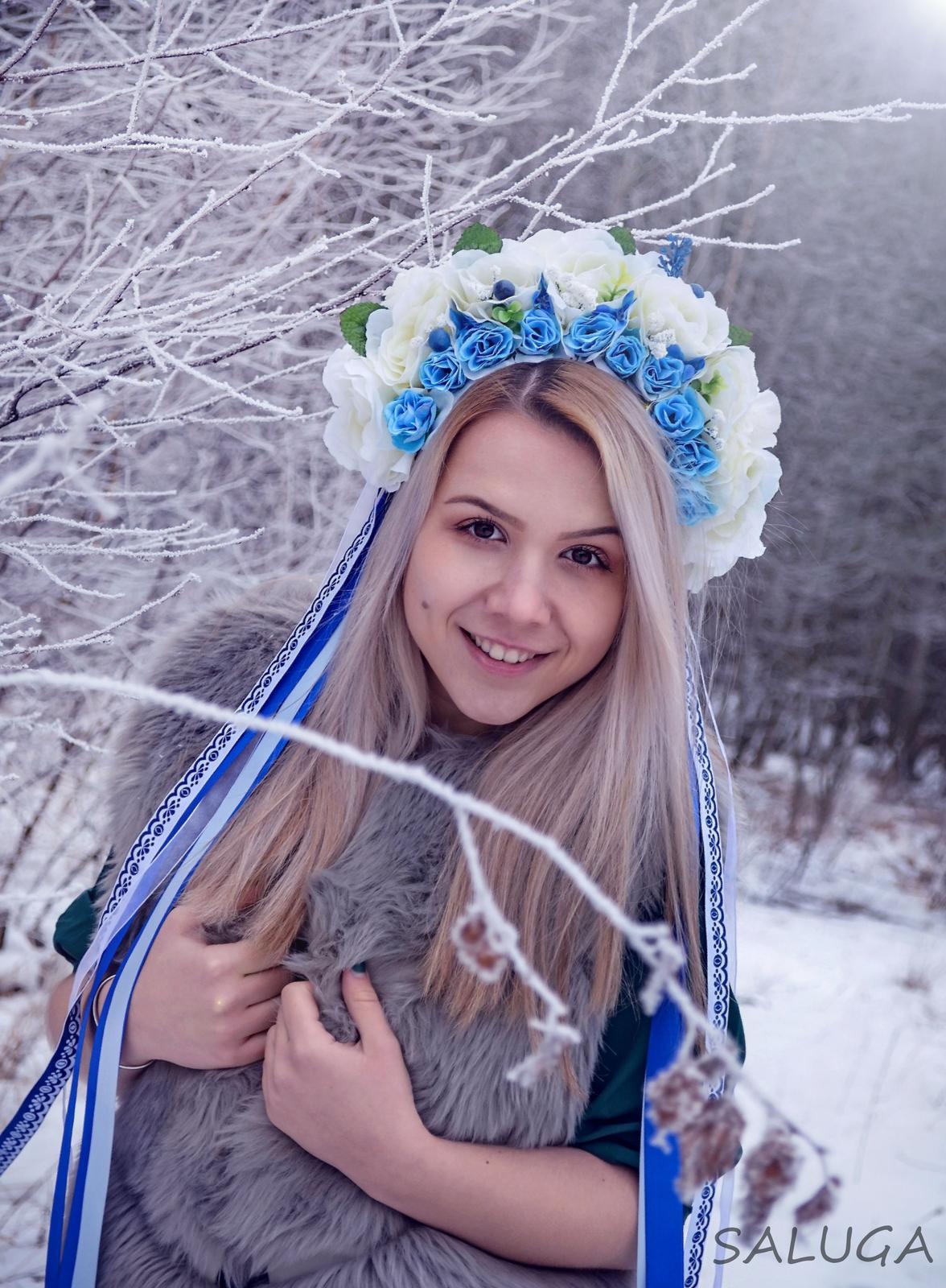 Kvetinová parta - čelenka - folklórna - modrá - Obrázok č. 1