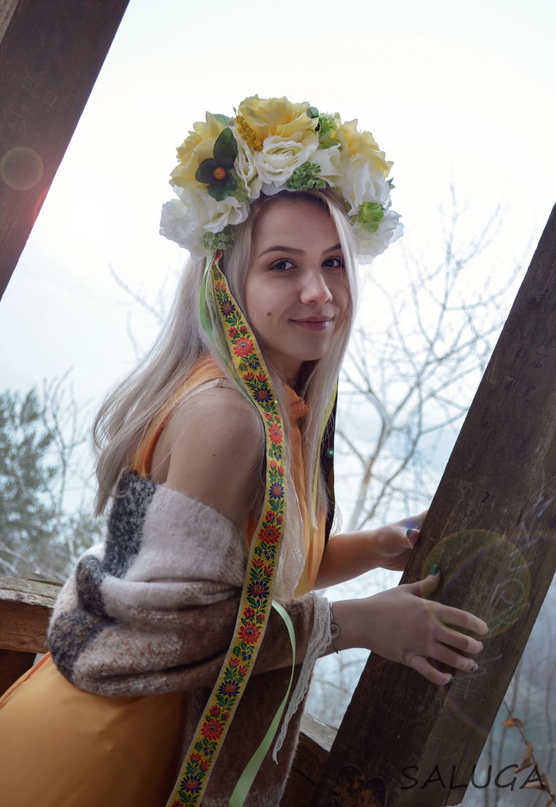 Kvetinová parta - čelenka - folklórna - žltá - Obrázok č. 1
