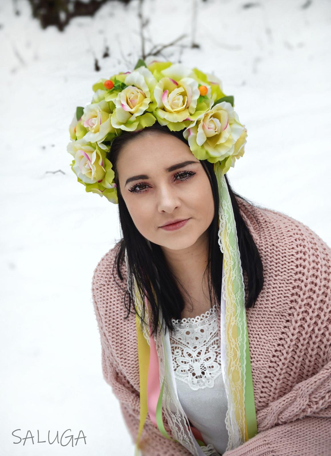 Kvetinová parta - čelenka - folklórna - farebná - Obrázok č. 1