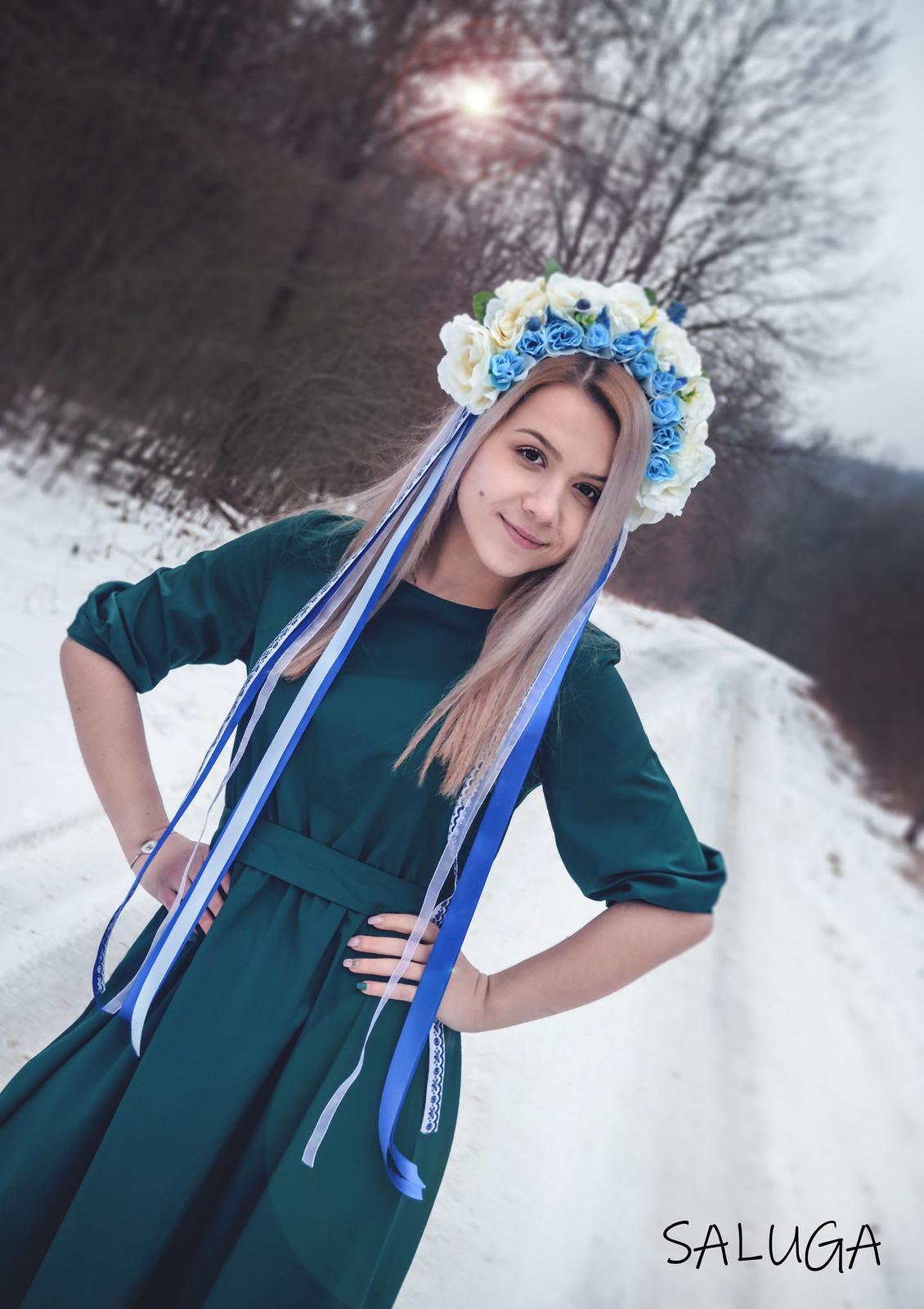 Kvetinová parta - čelenka - folklórna - ivory - Obrázok č. 1