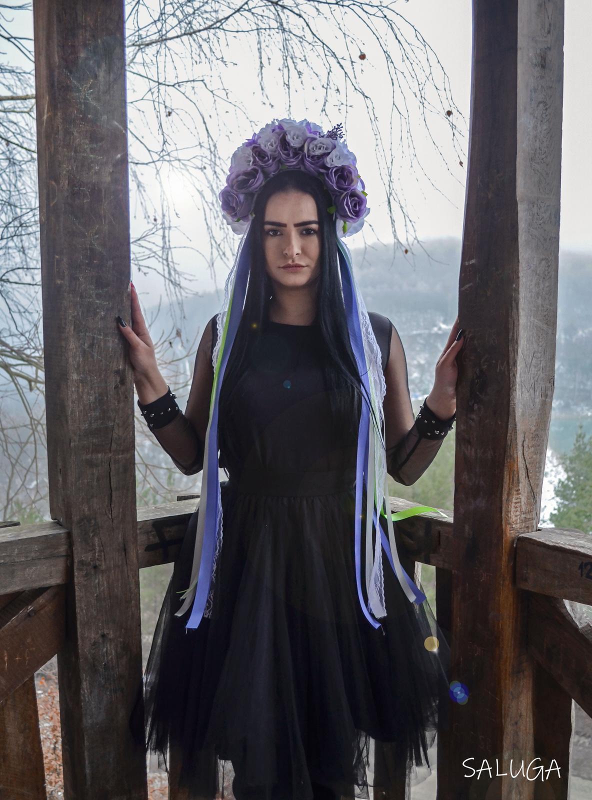 Kvetinová parta - čelenka - folklórna - fialová - Obrázok č. 1