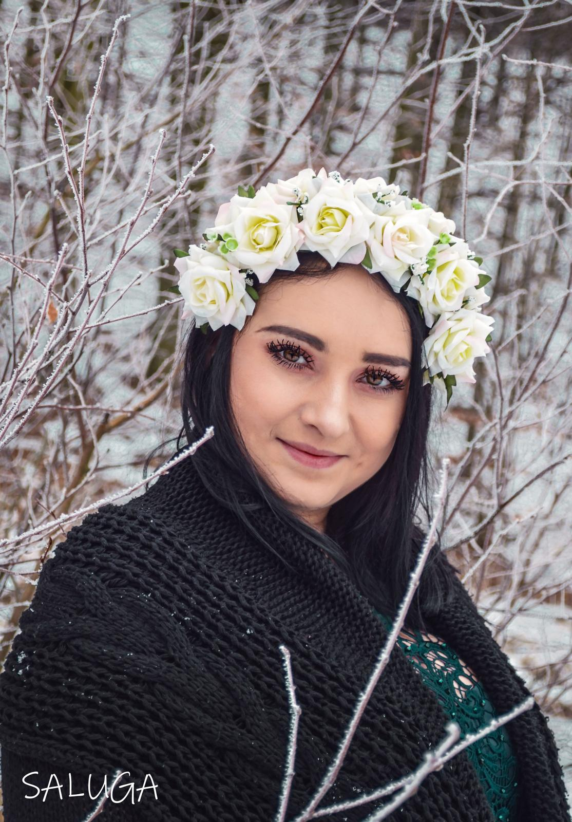 Kvetinová čelenka - ivory - ružová - Obrázok č. 1