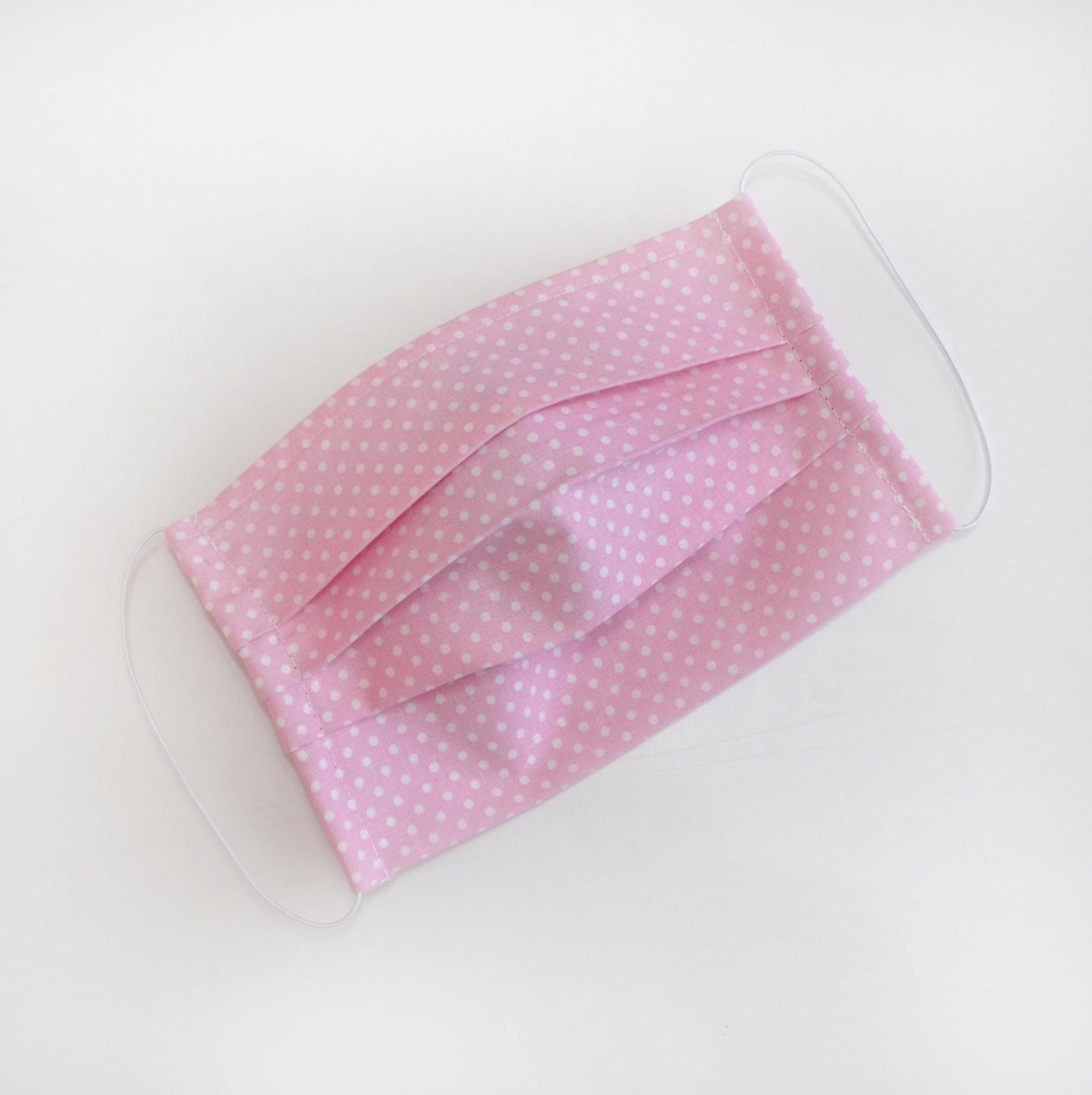 Ružové bodkované rúško na tvár - dvojvrstvové - Obrázok č. 1