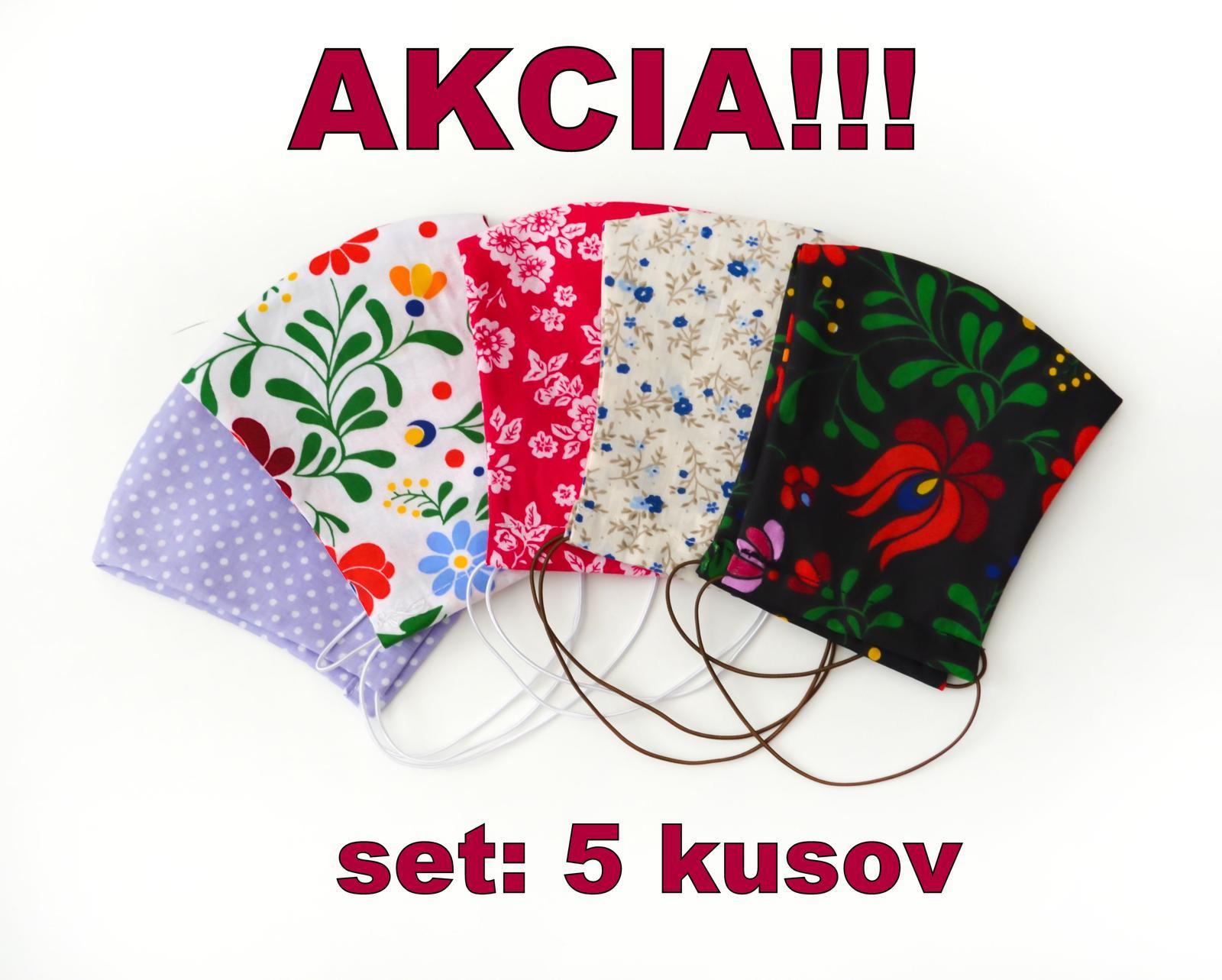 AKCIA - set 5 kusov - DVOJVRSTVOVÉ rúška na tvár  - Obrázok č. 1