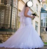 Snehovo biele svadobné šaty, 38