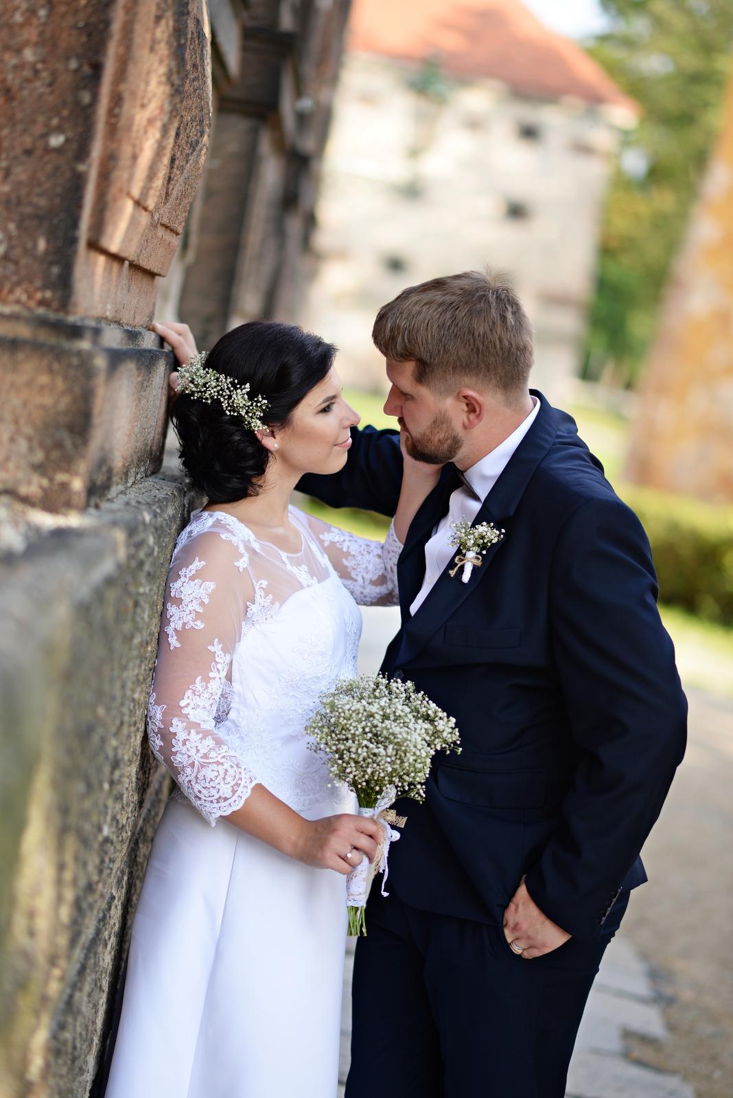 Svatební šaty - bílé s krajkou, vel. 38 - Obrázek č. 1