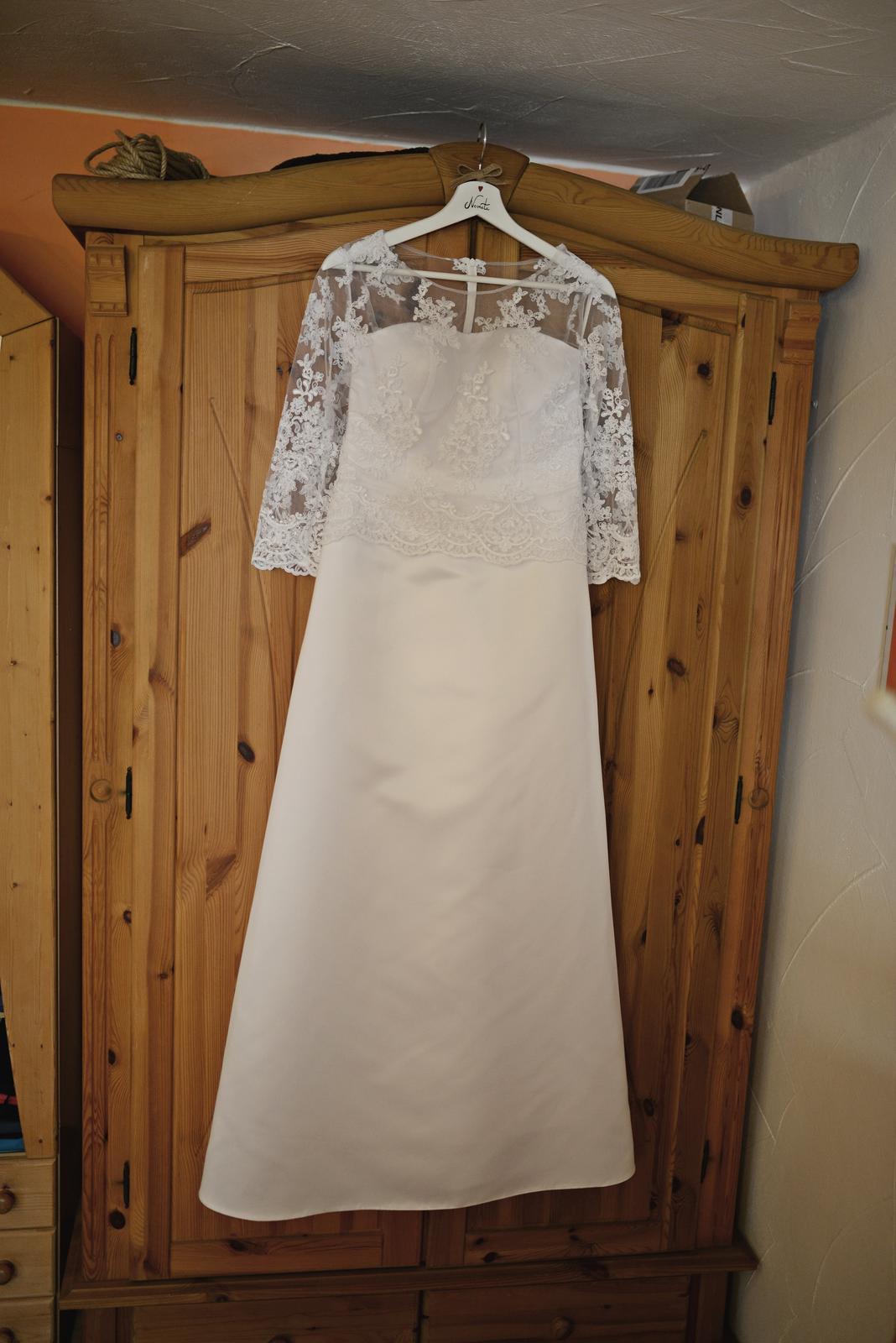 Svatební šaty - bílé s krajkou, vel. 38 - Obrázek č. 3