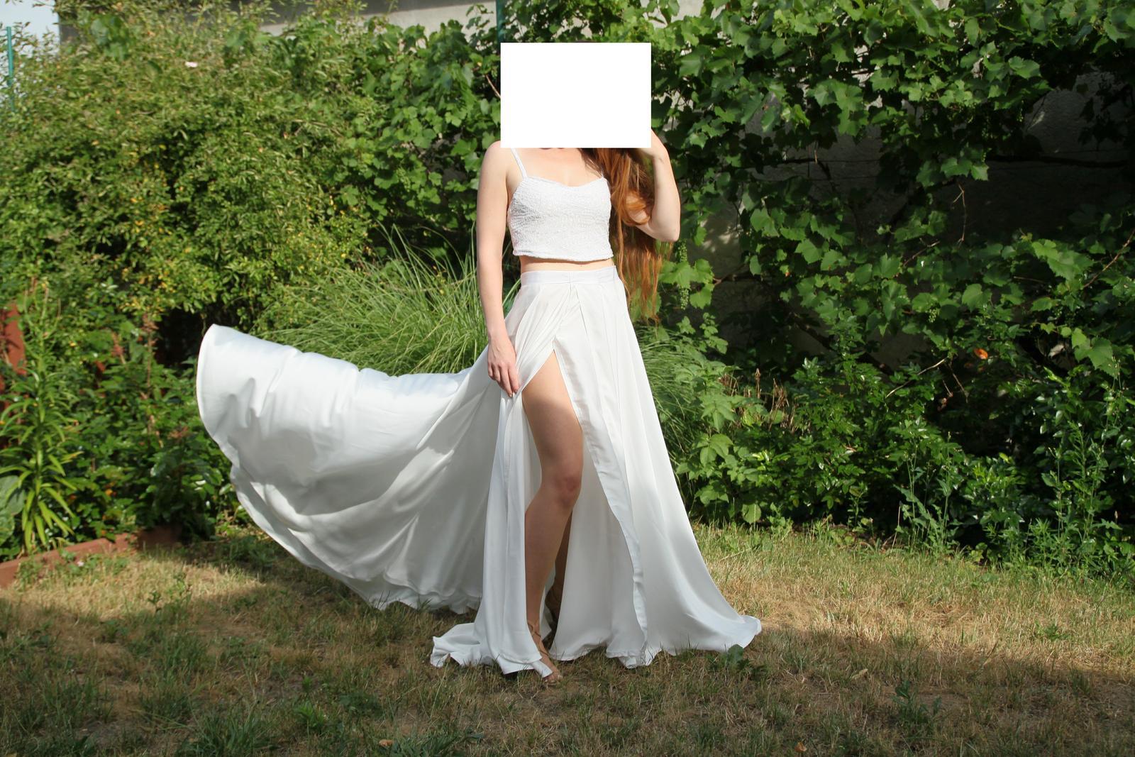 Svadobné šaty empírový padavý strih s rozparkom - Obrázok č. 1