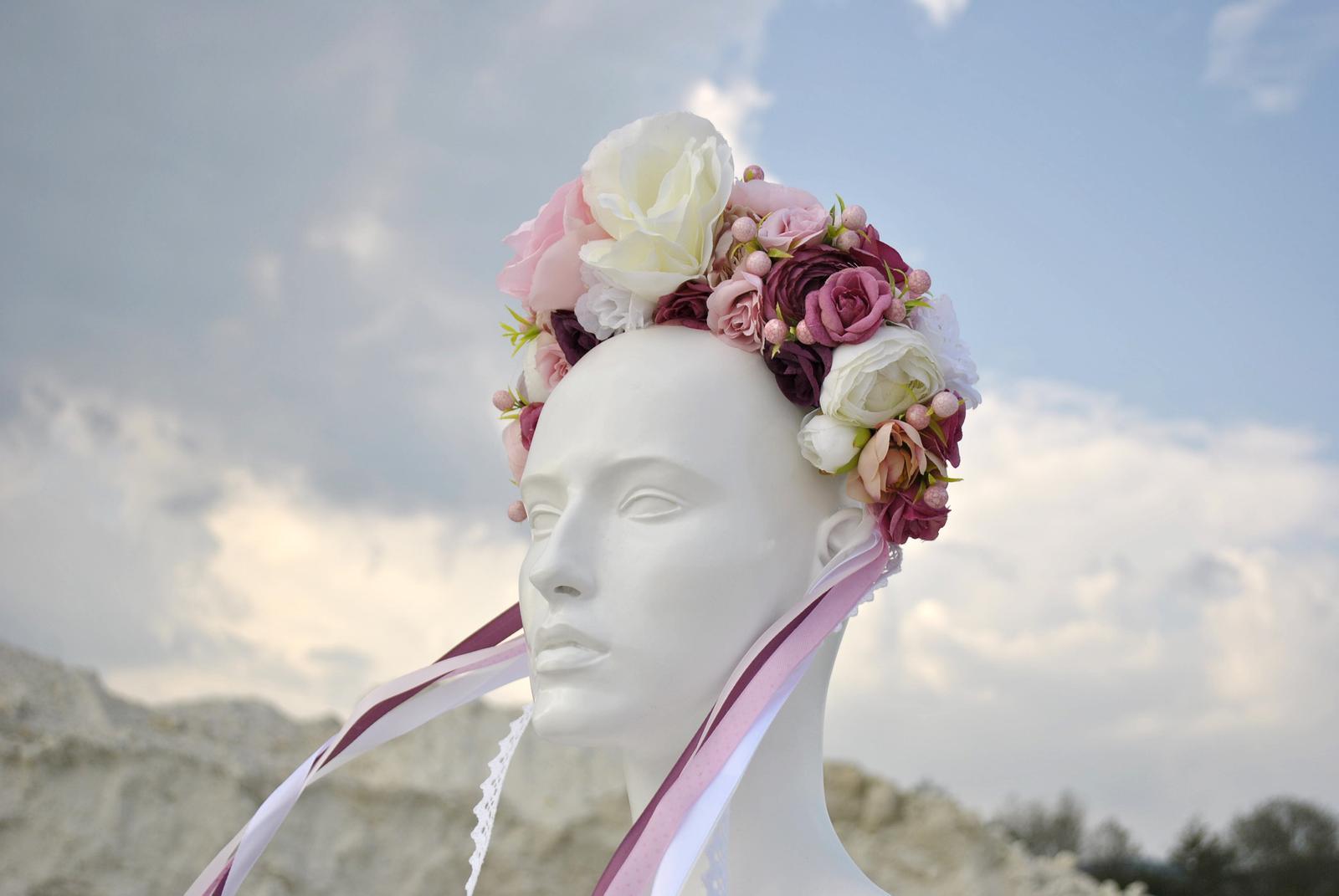 Kvetinová parta ružovo-biela - Obrázok č. 4