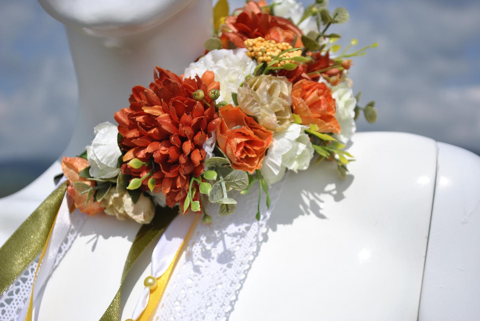 Kvetinová parta oranžovo-biela - Obrázok č. 2