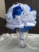 Saténová svadobná kytica modrá,