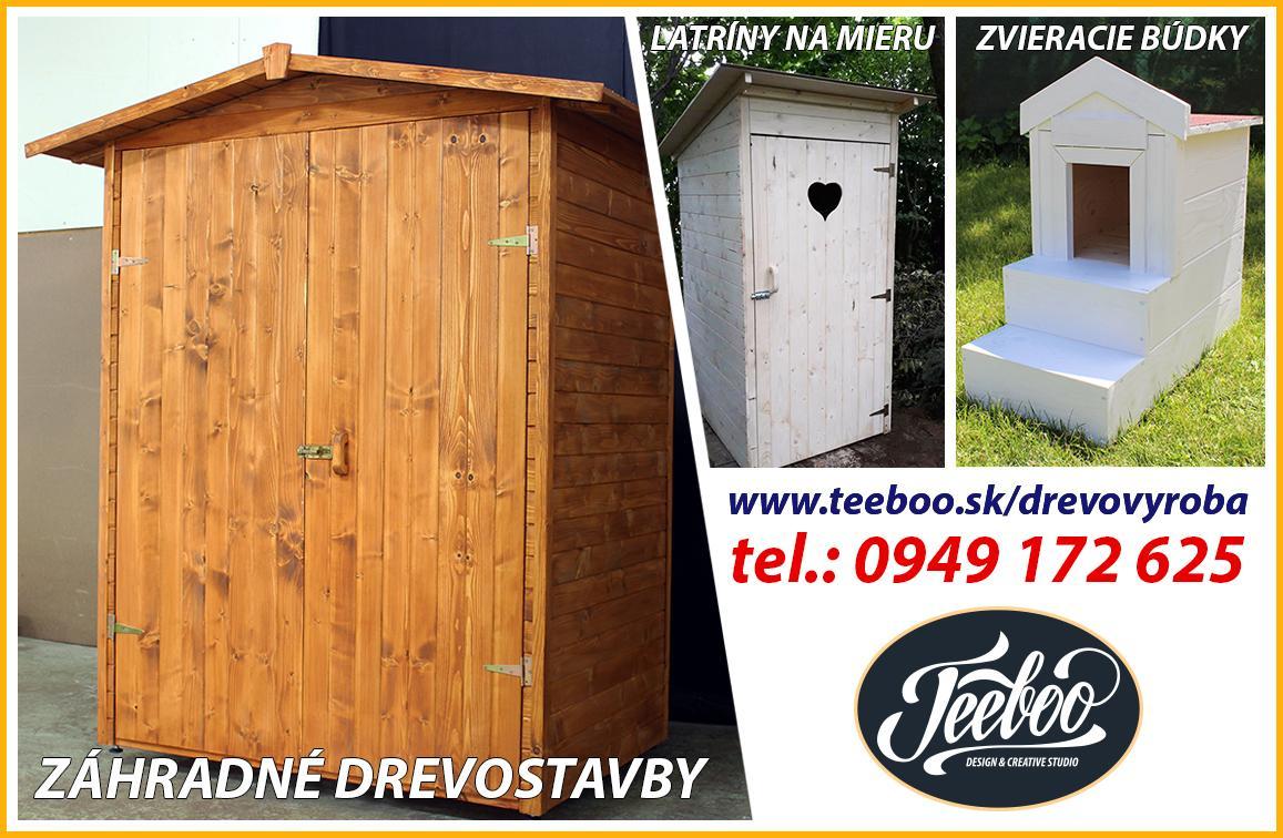 Záhradné drevostavby a drobné drevostavby: - Drevené stánky a kôlničky - Prístrešky na drevo - Psie a mačacie búdky - Búdky pre automatické kosačky - Kryty na studne a žumpy - Vyvýšené záhony - Latríny  Záhradný drevený nábytok: - Stoly, stoličky, lavičky, čajové stolíky, stolíky na kvetináče  - Akékoľvek drevostavby podľa želaní zákazníka  Viac info na: https://teeboo.sk/drevovyroba/ - Obrázok č. 1