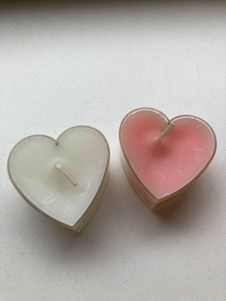 Svíčka - srdíčko růžová/bílá - Obrázek č. 1