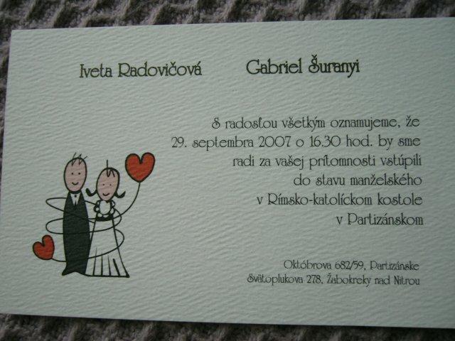 Ivet a Gabo :-) - Naše oznámenie