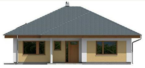 Predná časť domu rovnaká ako v projekte, ale stĺp bude štvorcový