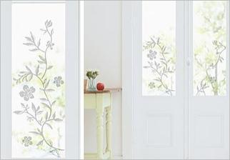 Samolepky na sklo - Větve s květy