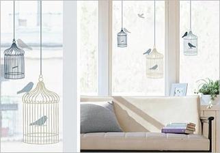 Samolepky na sklo - Ptáčci v kleci