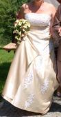 Zlatá šampaň svatební šaty 42-44 + závoj, 42