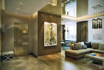 Krasna stena s obrazom, zaujimave leskle dvere, utulne farebne zladenie. Moderne ale neni nudne
