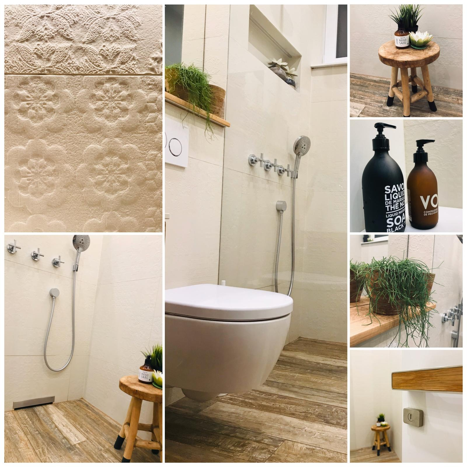 Naše L-ko - 2021 - stále dokončujeme - Malá kúpelňa - sprchový kút walk in s wc - v krémových odieňoch a detail obkladu Mutina