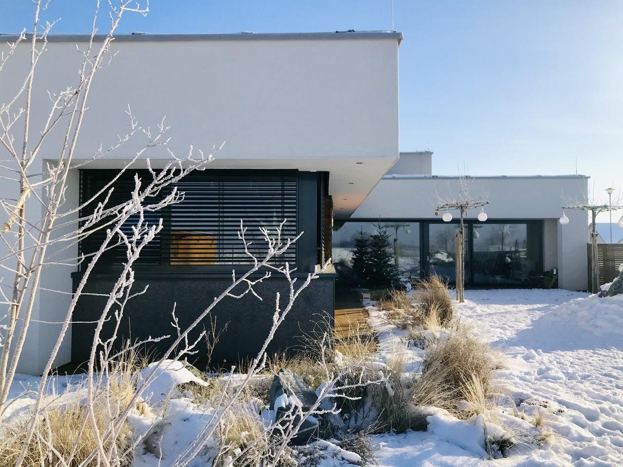 Naše L-ko - 2021 - stále dokončujeme - Námraza na muchovníku - domček v zime a posledný zasnežený deň