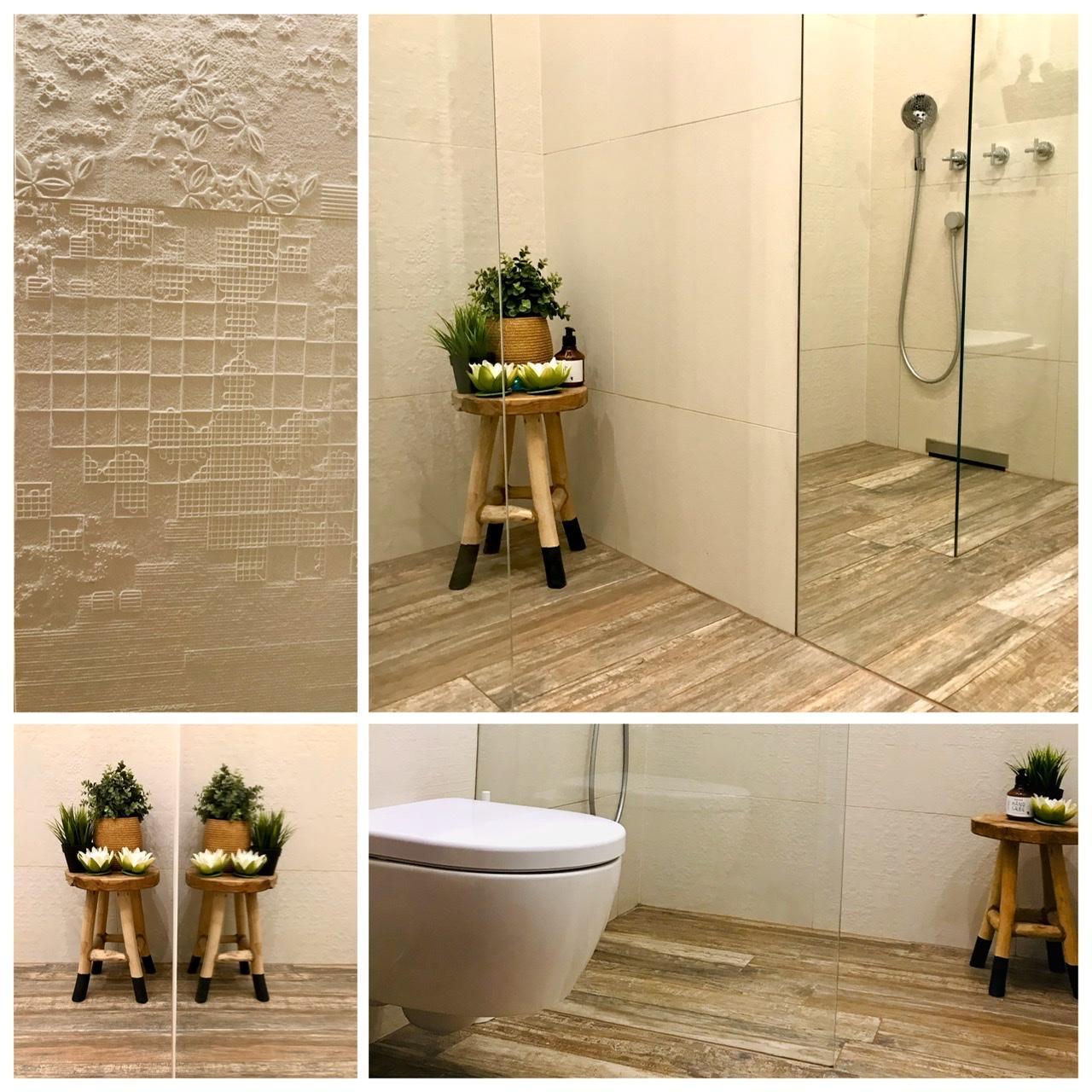 Naše L-ko - 2021 - stále dokončujeme - zrkladlová stena v kúpelni a variacie obkladu Mutina