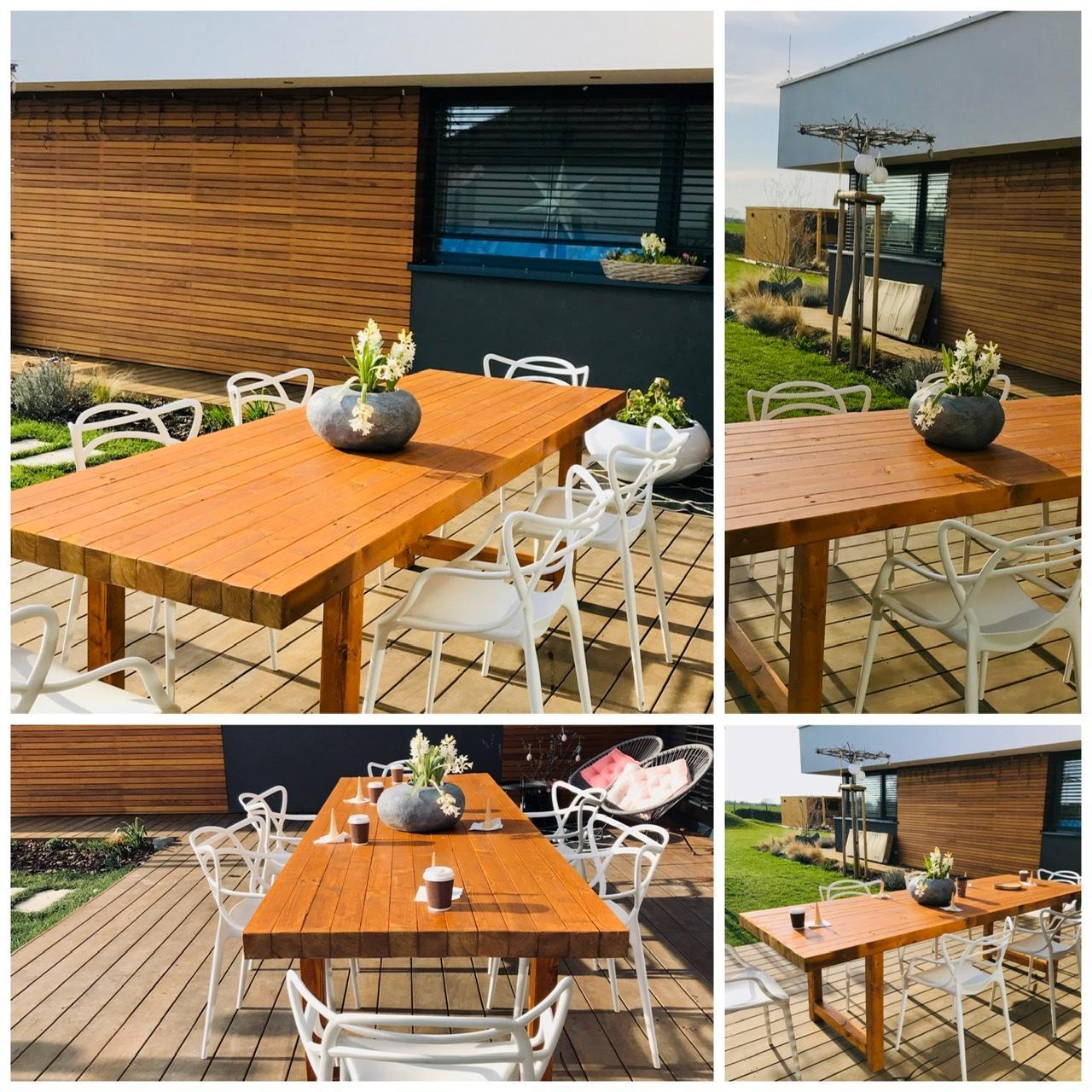 Naše L-ko - 2021 - stále dokončujeme - Dokončený nový priestranný terasový stol 2,6 m
