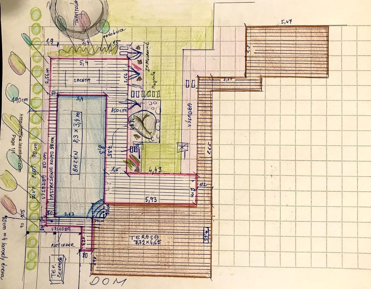 Naše L-ko - 2021 - stále dokončujeme - Bazén - posledné domeranie a rozkres novej terasovej zóny (nevyfarbená časť okolo bazéna).  Hnedá čast je súčasná terasová plocha okolo domu. Svetlá časť sa tento rok bude ku bazénu realizovať. Bazén bude obklopený zeleňou. Za mesiac ho dovezú