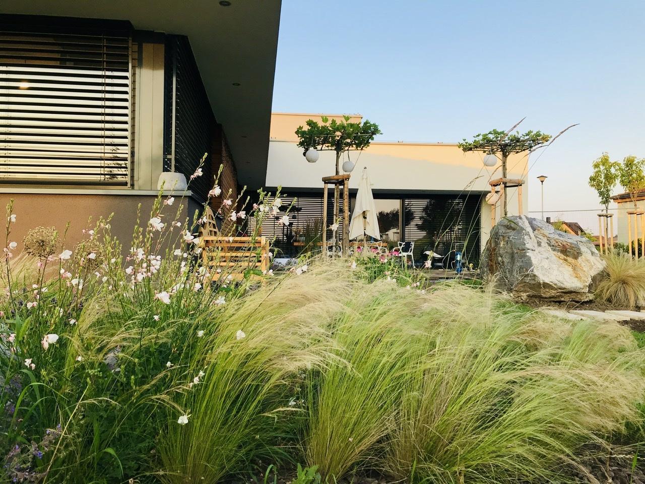 Naše L-ko - 2021 - stále dokončujeme - domček v strede leta, gaury, trávy