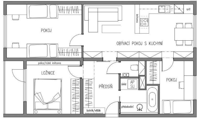 Možno sa niekomu zíde - prerobený panelákový byt. Podľa mňa celkom šikovne. - Obrázok č. 2