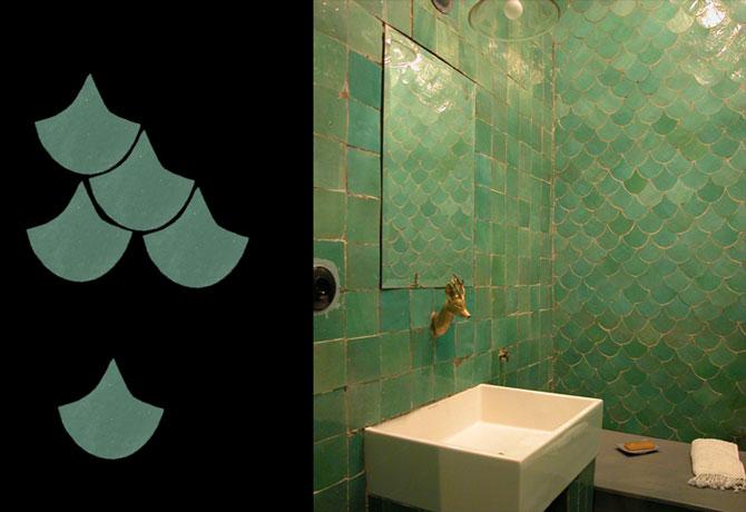 Novinka 9/2015 - ručně štípaný glazovaný obklad - Koupelna ve formátu rybí šupina