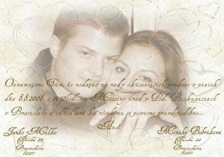 Nase svadobne oznamenie.... Vsetci su srdecne vitani :-)