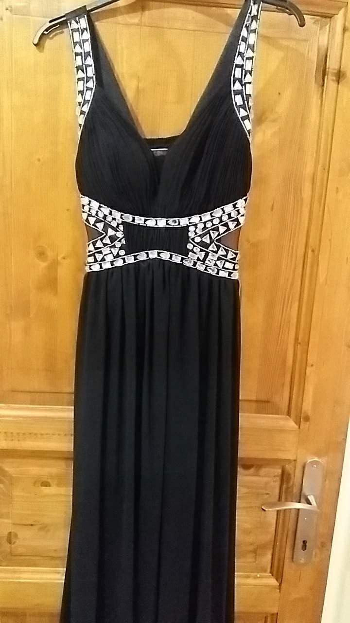 šaty 36-38 čierne so striebornymi kamienkami - Obrázok č. 1