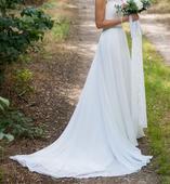 Ivory šaty s čipkovaným korzetom - šifónová sukňa, 40