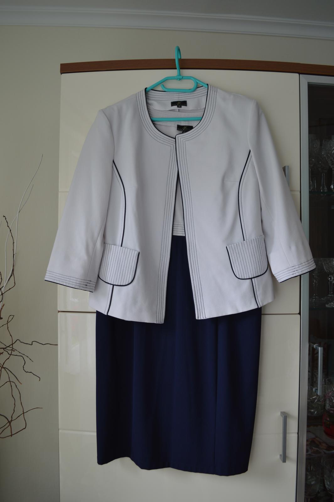 Tmavomodré šaty + sako - pre svadobnú mamu - Obrázok č. 1