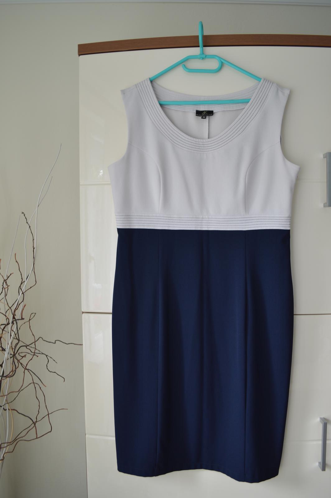 Tmavomodré šaty + sako - pre svadobnú mamu - Obrázok č. 2