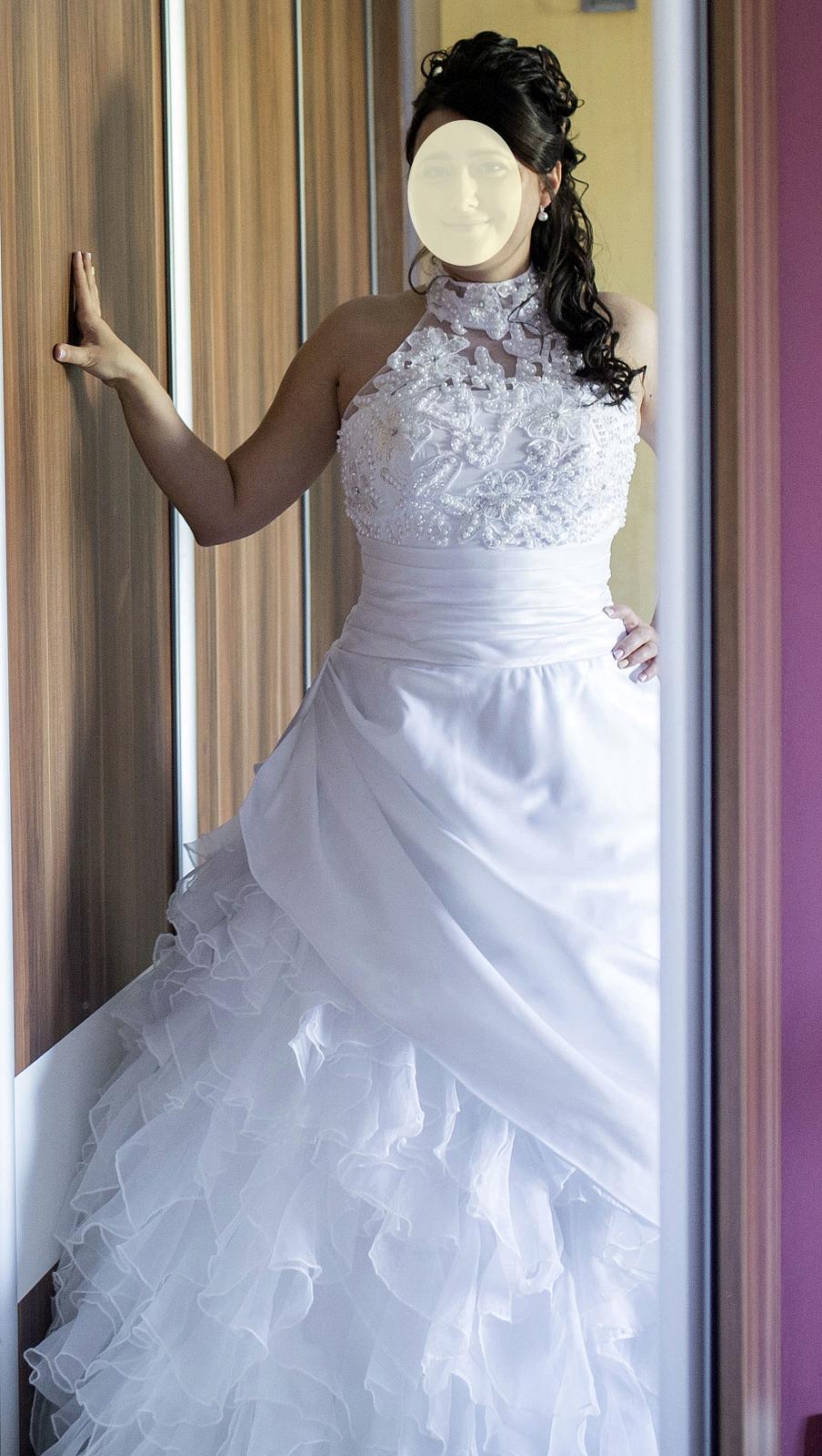 Svadobné šaty vyšívané perličkami - veľ. 38-42 - Obrázek č. 3