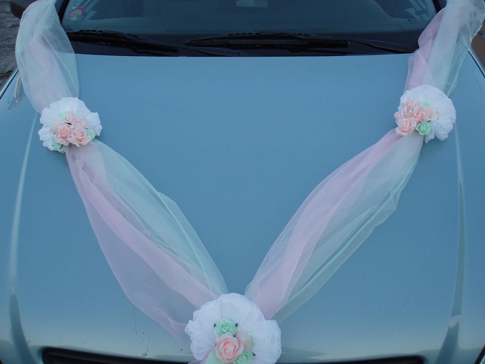 Svatební dekorace - dvojšerpa růžovo-mentolová