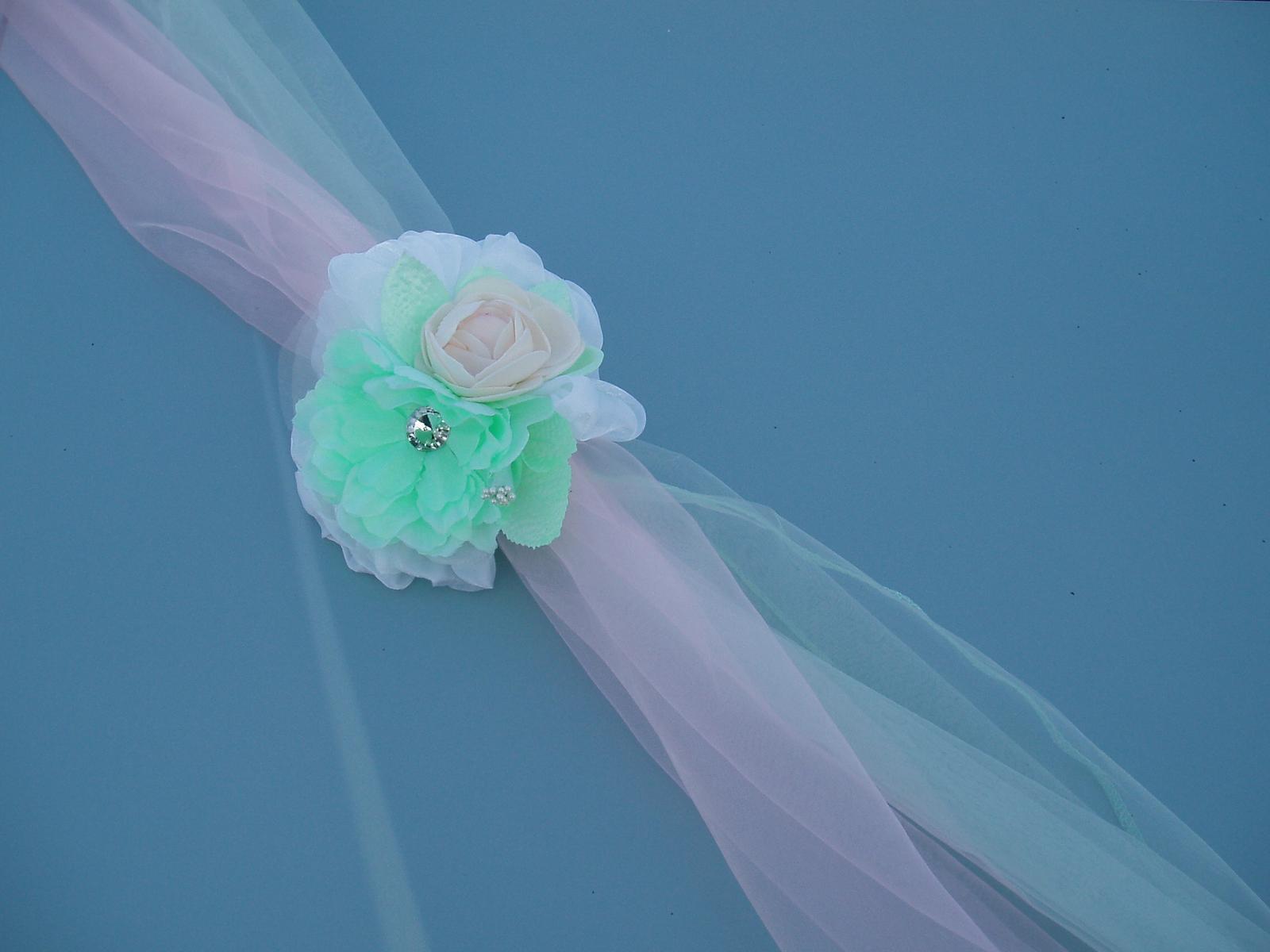 Svatební dekorace - dvojšerpa růžovo-mentolová 2